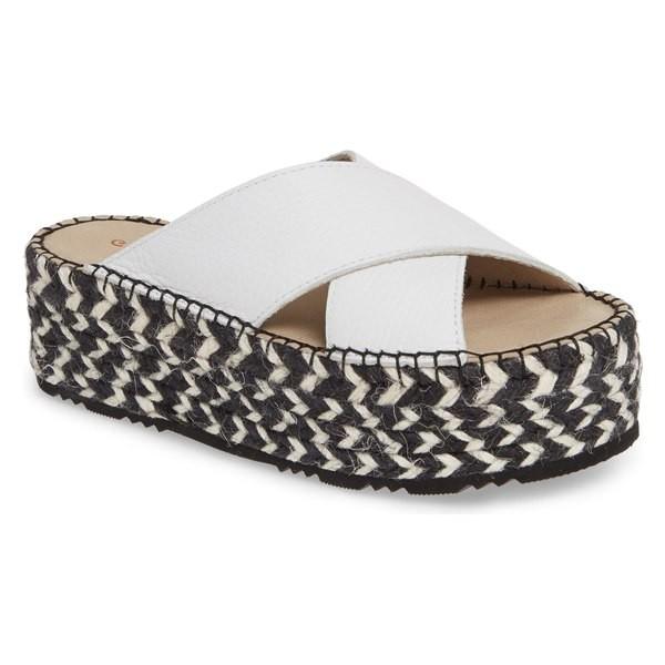 人気沸騰ブラドン ショコラブルー レディース Sandal サンダル シューズ Platform Chocolat Blu Niza Crisscross Platform シューズ Slide Sandal (Women) White Leather, エコー米穀:7074b388 --- meinjott.de