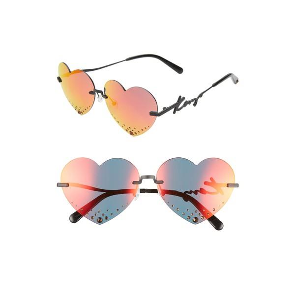 高質 ケンゾー レディース サングラス&アイウェア アクセサリー KENZO 63mm Oversize Rimless Heart Sunglasses Matte Black/ Red, 北摂ガーデンウェブショップ 952c03d2