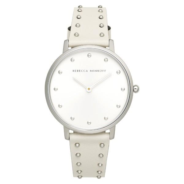 【期間限定!最安値挑戦】 腕時計 レベッカミンコフ Leather Rebecca レディース Major Strap Stud Minkoff 35mm Silver Watch, アクセサリー White/-その他腕時計