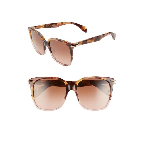 上等な ラグアンドボーン レディース サングラス&アイウェア アクセサリー rag & bone 56mm Gradient Square Sunglasses Brown Havana/ Pink, 波の音琉球 bb682d06