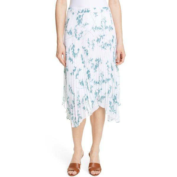 特価 Multi Pleated Skirt Hem White Midi Monaco レディース クラブ Floral Asymmetrical ボトムス スカート モナコ Club-スカート