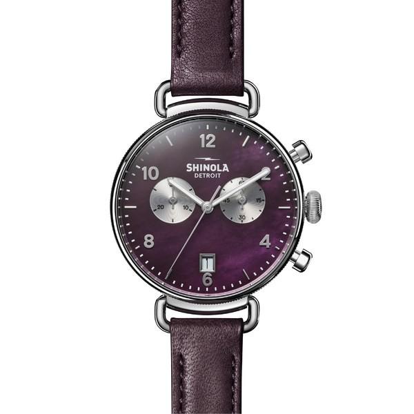 開店祝い シャイノーラ レディース 腕時計 アクセサリー Shinola 'The Canfield 38mm Chrono' Mop/ Leather Plum Strap Watch, 38mm Purple/ Plum Mop/ Silver, モダンアート 絵画 版画 の画廊:c10dcabb --- chevron9.de