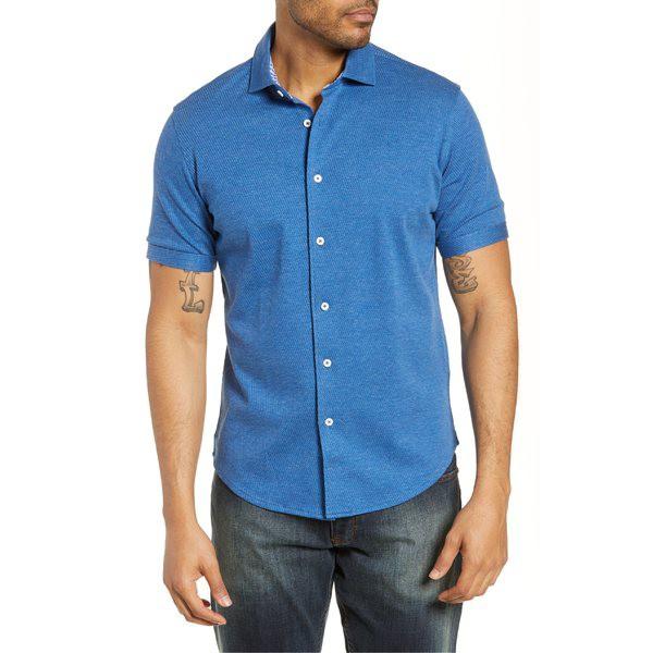 【おトク】 ブガッチ メンズ シャツ トップス Bugatchi Regular Fit Knit Cotton Sport Shirt Classic Blue, ブーツとスニーカー Face to Face c26b3f4f