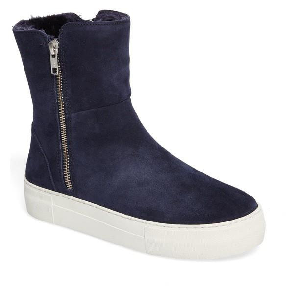 高級素材使用ブランド ジェースライズ Boot レディース Lined ブーツ&レインブーツ シューズ JSlides Allie Faux (Women) Fur Lined Platform Boot (Women) Navy Suede, BRAND7 東京:4f370186 --- kulturbund-sachsen-anhalt.de