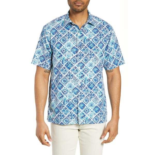 人気提案 トッミーバハマ メンズ シャツ トップス Tommy Bahama Tivoli Tiles Silk Blend Shirt Madras Blue, RED ROSE 2805c8f4