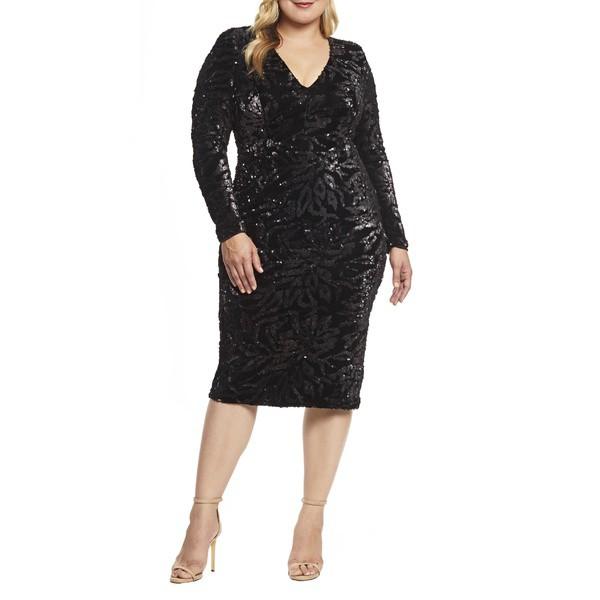 【あすつく】 ドレスザポプレーション レディース ワンピース Dress トップス Dress Population the Population the Elizabeth Plunge Midi Dress (Plus) Black, 彫姫工房:e52c1678 --- chevron9.de