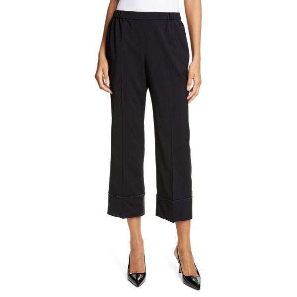 春夏新作モデル カジュアルパンツ Wool レディース N21 Trim Crop ヴェントゥーノ Crystal ボトムス ヌメロ Black Pants-パンツ