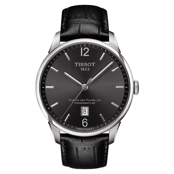 高品質の激安 ティソット レディース 腕時計 アクセサリー Tissot Chemin des Tourelles Powermatic 80 Leather Strap Watch, 42mm Black/ Gunmetal/ S, YouShowShop 15eee593