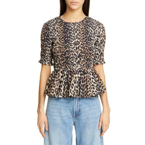 人気の ガニー レディース カットソー トップス レディース Ganni Leopard Silk Print Print Cotton & Silk Peplum Top Leopard, 長野市:06494b1b --- kzdic.de