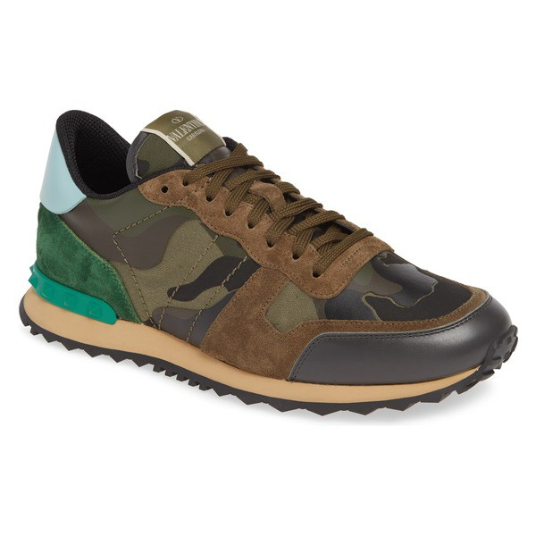 【予約中!】 Green/ スニーカー シューズ ヴァレンティノ メンズ GARAVANI Sneaker VALENTINO ガラヴァーニ Rockrunner Camo Army Brown (Men)-靴・シューズ