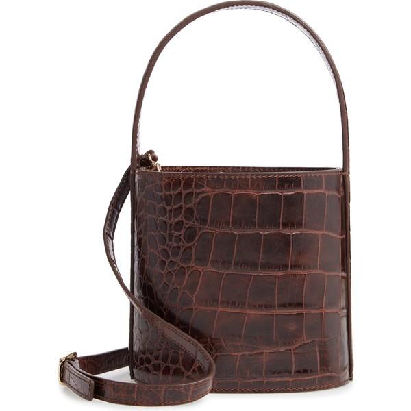 本物の ステゥド レディース ハンドバッグ ハンドバッグ バッグ STAUD Bissett Bag Croc Croc Embossed Leather Bucket Bag Brown, シャルビーインターネットショップ:d2b64924 --- 1gc.de