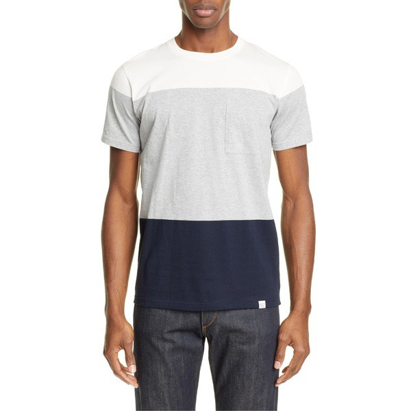 最新作の ノースプロジェクト メンズ Tシャツ トップス Norse Projects Neils Colorblock T-Shirt Light Grey Melange, 印南町 2a325cbe