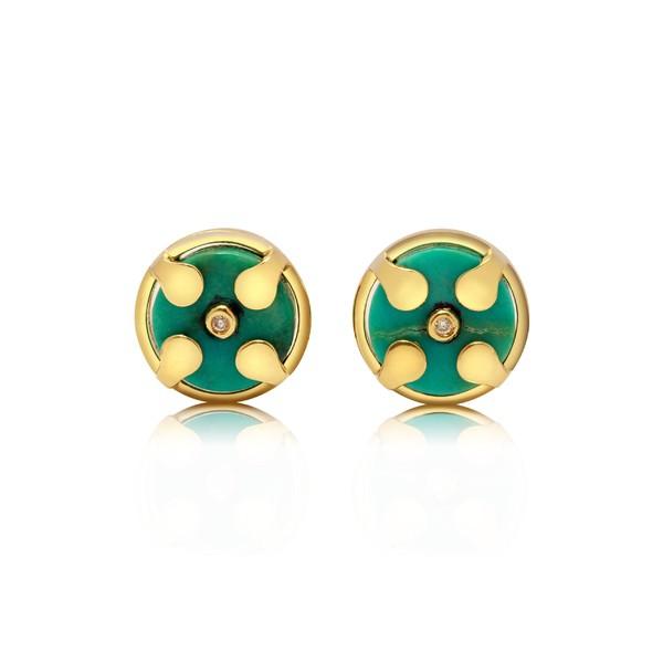正規品 コングス レディース ピアス&イヤリング Yellow アクセサリー Congs Truth Stud & アクセサリー Balance Natural Turquoise Stud Earrings Yellow Gold, モリヨシマチ:895fc6ef --- paderborner-film-club.de