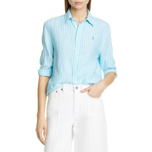 熱い販売 French Ralph Linen Lauren Turquoise/ ラルフローレン Stripe Shirt Polo シャツ トップス White レディース-トップス