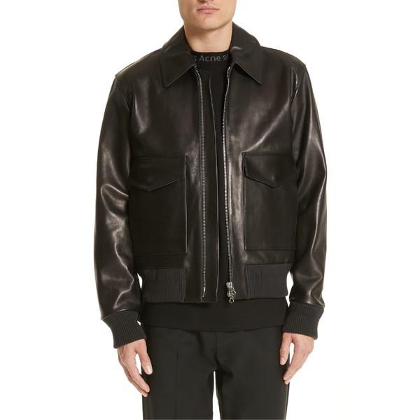超安い品質 アウター アクネ Leather Studios Bomber Jacket メンズ ストゥディオズ Black Acne ジャケット&ブルゾン Lazlo-ジャケット・アウター