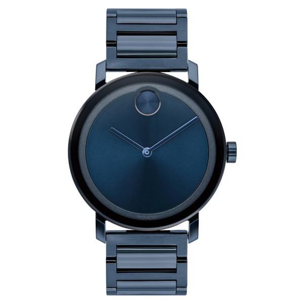 魅了 モバド レディース 腕時計 アクセサリー Movado Bold Evolution Bracelet Watch, 40mm Blue, サクマチ e6bf2980