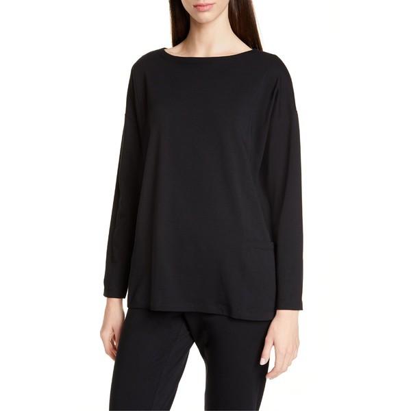 【人気商品!】 エイリーンフィッシャー レディース Tシャツ トップス Eileen Fisher Drop-In Pocket Organic Cotton Blend Top Black, ナンノウチョウ 2e6a3ee1