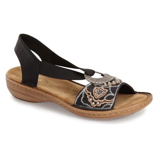 人気TOP Antistress 'Regina' Rieker Fabric レディース Black サンダル シューズ Sandal (Women) リーカー アンチストレス-靴・シューズ