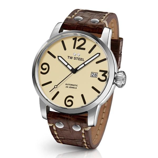 【2019春夏新色】 ティーダブルスティール メンズ 腕時計 アクセサリー TW Steel Maverick Automatic Leather Strap Watch, 48mm Chocolate/ Cream/ Silver, わくわく家具 782508d9