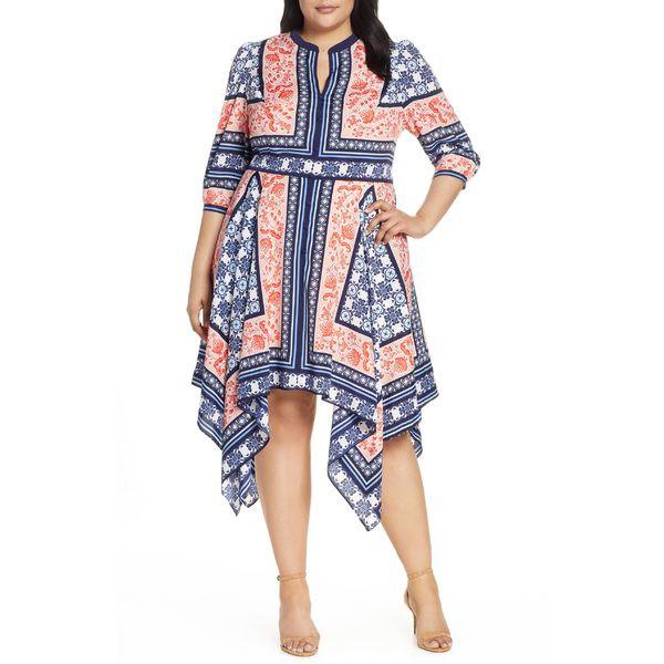 【返品?交換対象商品】 Dress Poppy/ Bandana Print ワンピース エリザジェイ J トップス Eliza Navy レディース (Plus Size) Hem Handkerchief-スーツ
