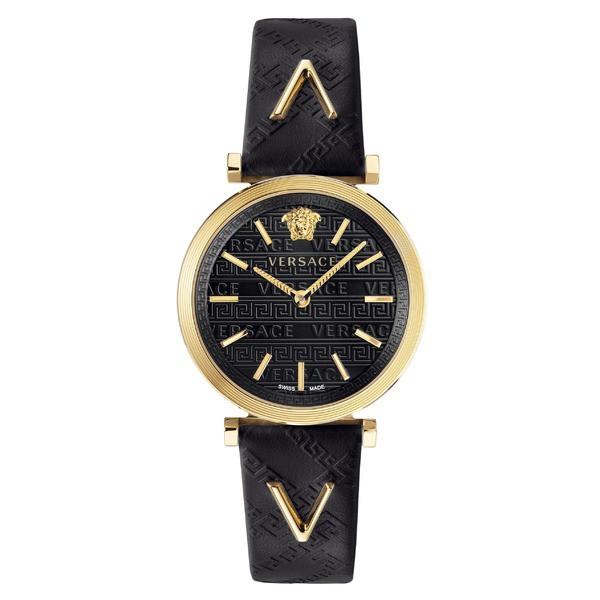 【お買得】 ヴェルサーチ レディース 腕時計 アクセサリー Versace V Twist Leather Strap Watch, 36mm Black/ Gold, Tamao bf7236cd