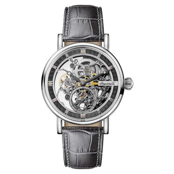 【今日の超目玉】 インガーソルウォッチ レディース 腕時計 アクセサリー Ingersoll Herald Automatic Skeleton Leather Strap Watch, 40mm Grey/ Skeleton, ハッピータイム 831e132b