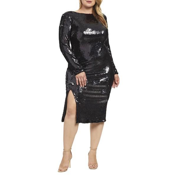 最大の割引 ドレスザポプレーション Sequin レディース トップス ワンピース Natalie トップス Dress the Population Natalie Sequin Sheath Dress (Plus Size) Black Pearl, 川崎町:535e9393 --- zafh-spantec.de