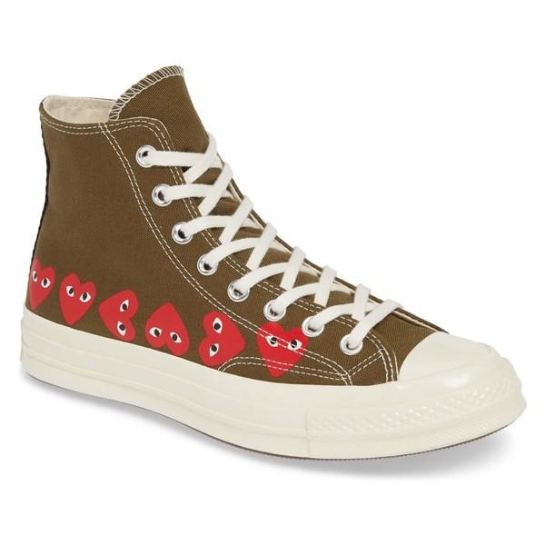 【翌日発送可能】 コムデギャルソン メンズ スニーカー シューズ Comme des Garons PLAY Multiheart Sneaker (Men) Khaki, トモエモン a69e77fd