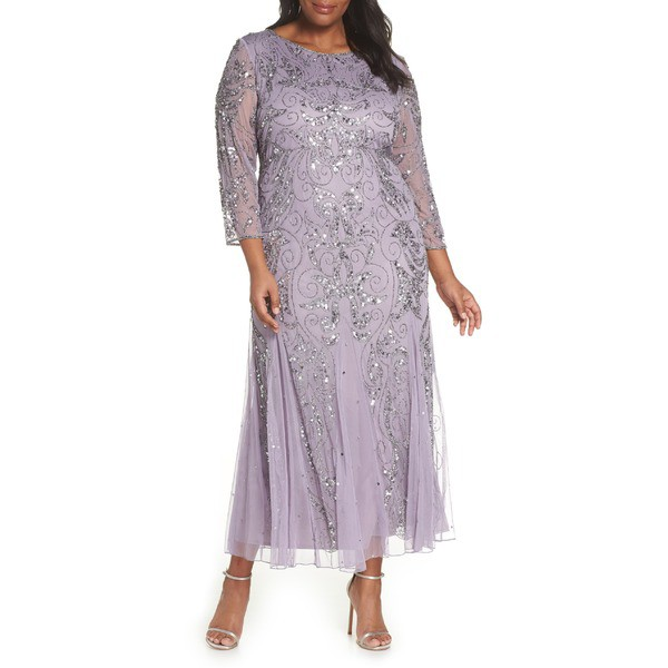 【破格値下げ】 ピサッロナイツ レディース ワンピース トップス Pisarro Nights Embellished Three ピサッロナイツ Quarter トップス Embellished Sleeve Gown (Plus Size) New Lavender, doldol dolani:36eea891 --- ai-dueren.de