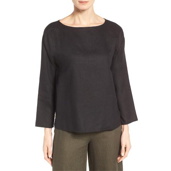 新作モデル エイリーンフィッシャー レディース カットソー トップス Eileen Fisher Organic Handkerchief Linen Top (Regular & Petite) Black, 鎮西町 24f6b697