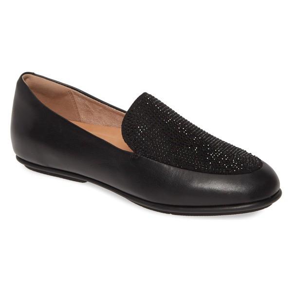 【楽天スーパーセール】 フィットフロップ レディース サンダル シューズ FitFlop Lena Crystal Embellished Loafer (Women) All Black Leather, 特選屋 c6a54d3f