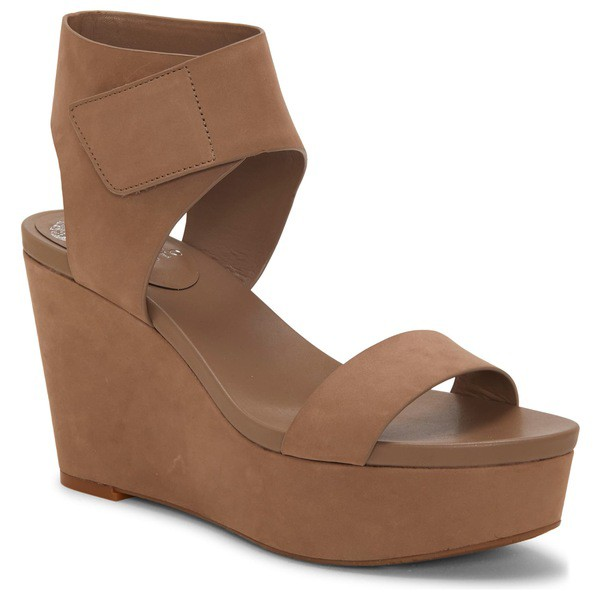 【即納】 ヴィンスカムート レディース サンダル シューズ Vince Camuto Camuto Velista Platform Wedge Dark Platform Sandal (Women) Dark Beige Nubuck Leather, くるまでんき屋:a465cd61 --- stunset.de