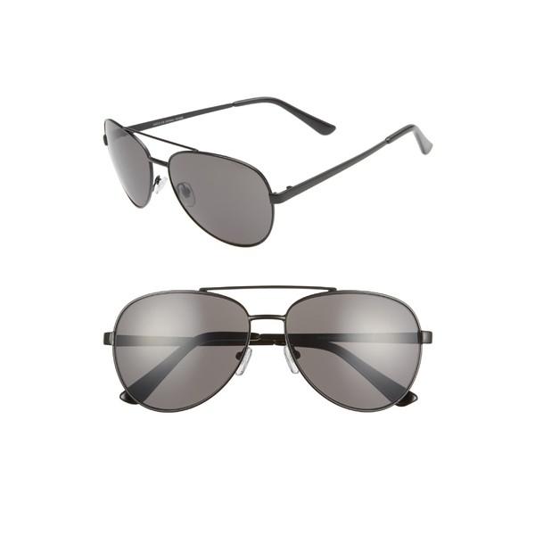 ザレイル メンズ サングラス・アイウェア アクセサリー The Rail Rhett 60mm Aviator Sunglasses Matte Black/ Grey