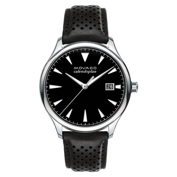 最適な価格 モバド レディース 腕時計 アクセサリー Movado 'Heritage' Leather Strap Watch, 40mm Black/ Black, 福岡市 77c3636e