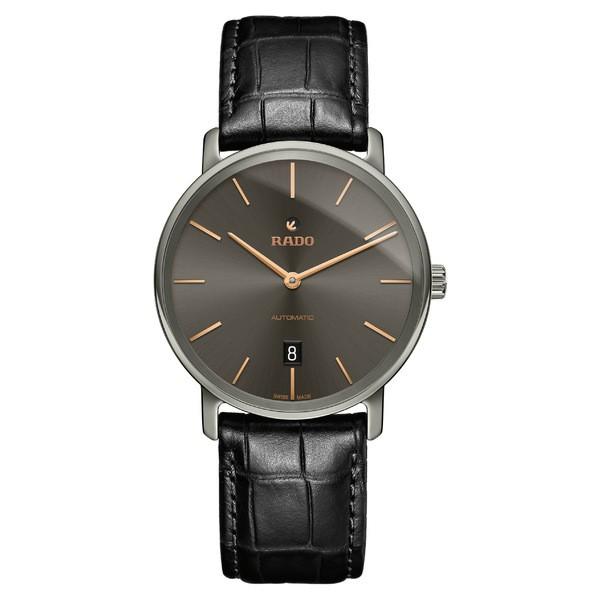【年間ランキング6年連続受賞】 ラド メンズ 腕時計 アクセサリー RADO DiaMaster Automatic Leather Strap Watch, 41mm Black/ Grey/ Silver, 山江村 15136fde
