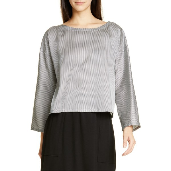 日本最大級 & Bon Petite) Cotton Graphite/ トップス Stripe レディース (Regular Eileen カットソー Silk Blouse エイリーンフィッシャー Fisher &-トップス