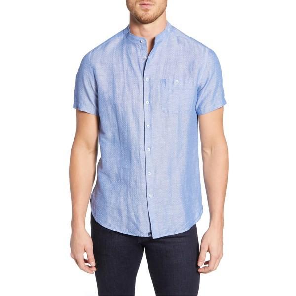 激安本物 ストーンローズ メンズ シャツ トップス Stone Rose Regular Fit Banded Linen Blend Sport Shirt Blue, アツベツク bf81f153