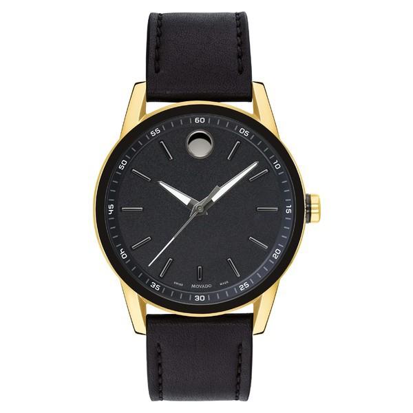 【使い勝手の良い】 モバド メンズ 腕時計 アクセサリー Movado Leather Strap Watch, 42mm Black/ Gold, 田代町 4287c3ac