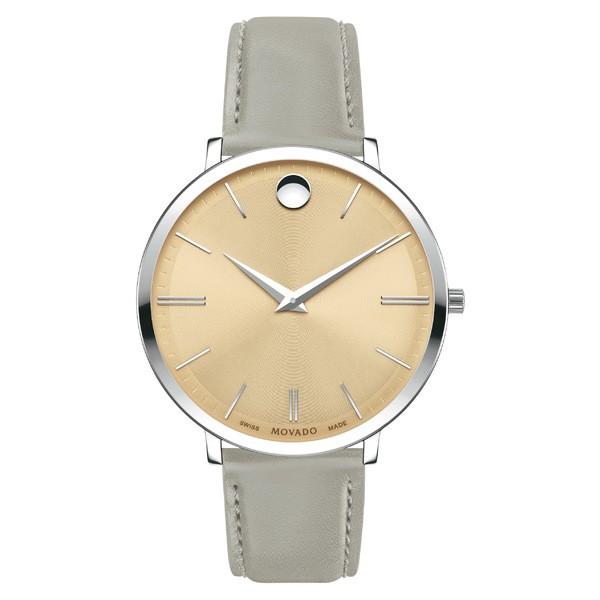 新品即決 モバド レディース Grey/ 腕時計 アクセサリー Movado モバド Ultraslim Leather Ultraslim Strap Watch, 35mm Grey/ Beige/ Silver, 出石郡:a4011924 --- chevron9.de