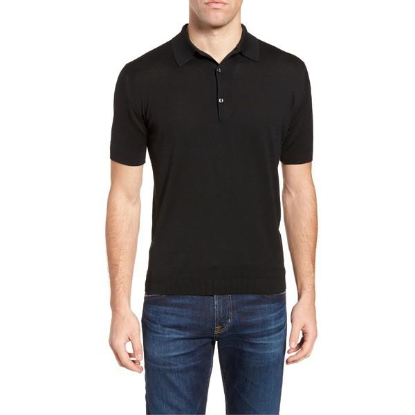 【コンビニ受取対応商品】 ジョンスメドレー Jersey Smedley Black John トップス Polo ポロシャツ メンズ-トップス