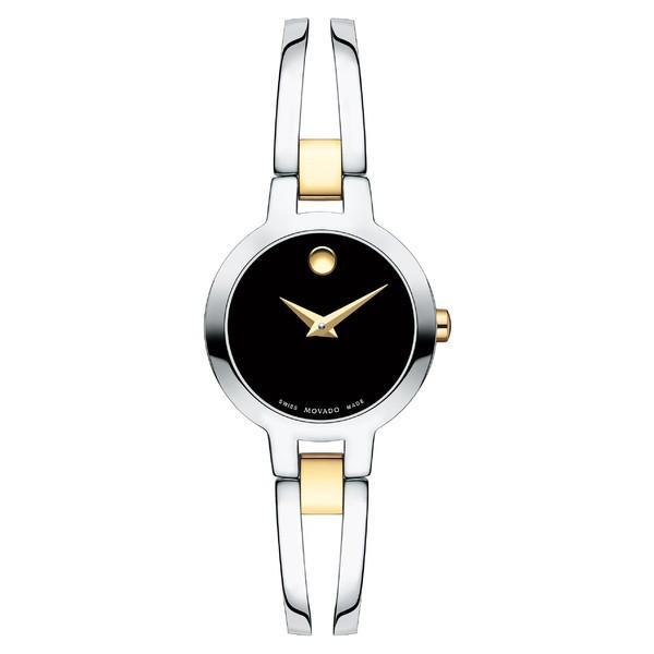 【コンビニ受取対応商品】 モバド レディース 腕時計 アクセサリー Movado Amorosa Bangle Watch, 24mm Silver/ Black/ Silver, ミズホチョウ 4fcf753b