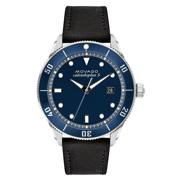 【後払い手数料無料】 モバド レディース 腕時計 アクセサリー Movado Heritage Calendoplan Leather Strap Watch, 43mm Black/ Blue/ Silver, ウチウラマチ 7ec68d7f