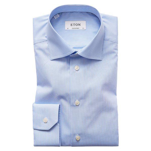 おすすめ エトン メンズ Fit シャツ Eton トップス Eton Contemporary Dress Fit Check Dress Shirt Mid Blue, Aquila:d49dcd01 --- pokal-und-gravur-shop.de