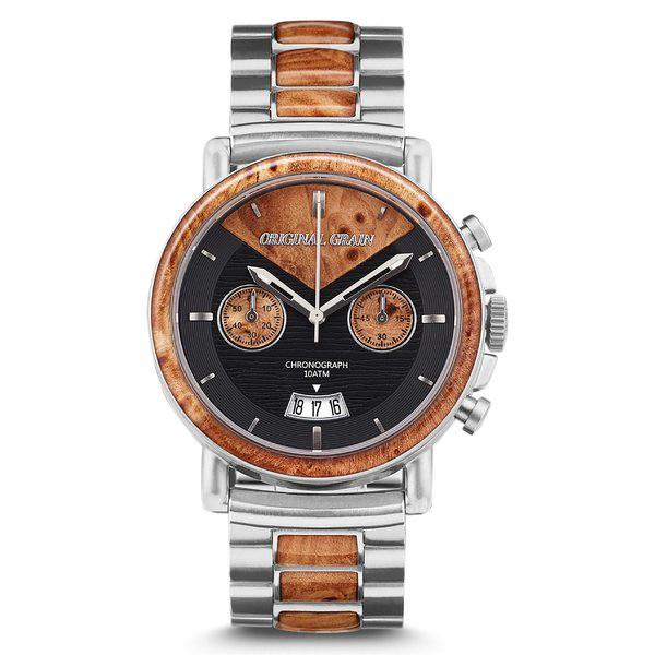 贈り物 オリジナル・グレイン レディース 腕時計 アクセサリー Original Grain Alterra Chronograph Bracelet Watch, 44mm Burl Wood/ Brushed S, Avaron 8e5da2c7
