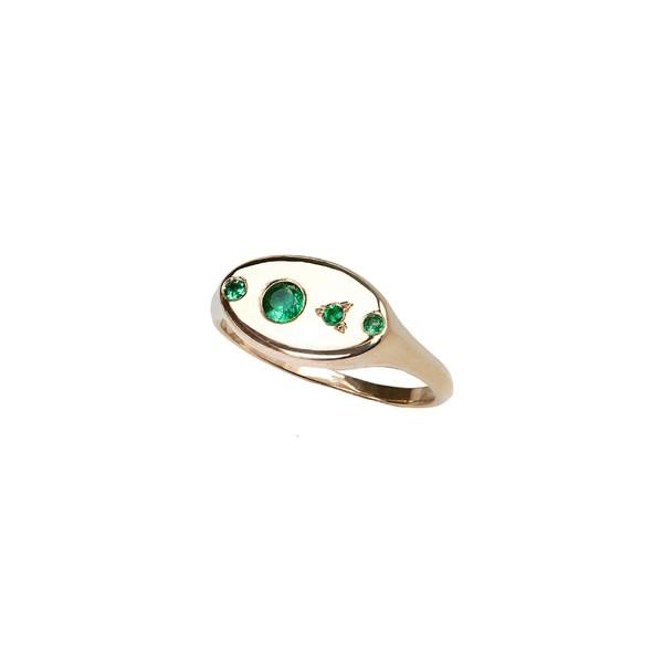 【売り切り御免!】 ダブリューウェイク レディース リング アクセサリー Wwake Monolith Emerald Signet Ring Yellow Gold/ Emerald, アショログン c3092352