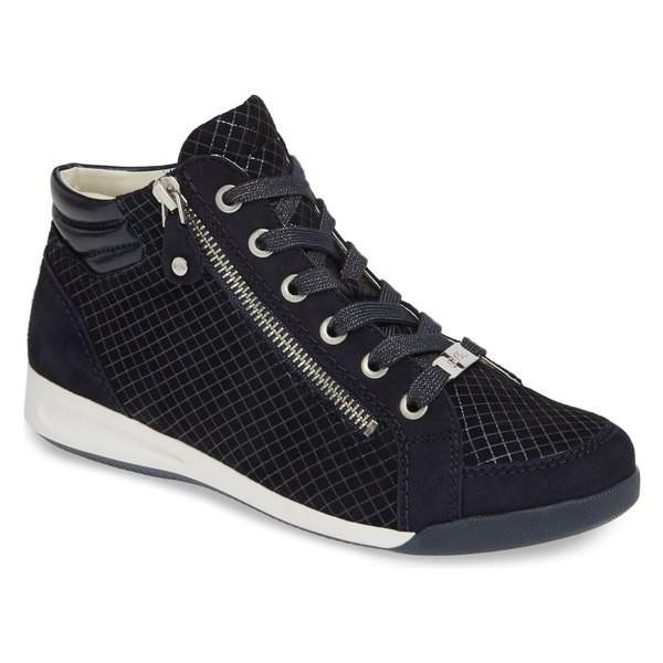【楽ギフ_包装】 アラ レディース スニーカー シューズ ara Rylee High Top Sneaker (Women) Blue Square Suede, フジノネットショップ cab0f993