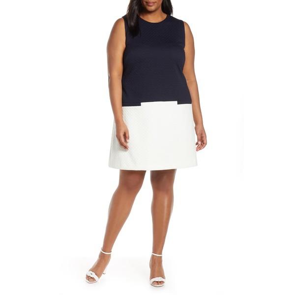 【レビューを書けば送料当店負担】 エリザジェイ レディース ワンピース トップス Eliza J Colorblock Jacquard Dress (Plus Size) Navy/ Ivory, Happiness Mom 2ced2af2