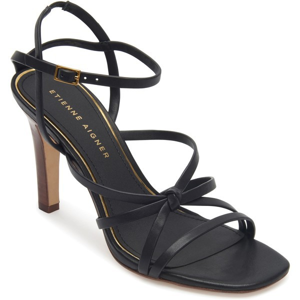 人気商品 アイグナー レディース サンダル シューズ Etienne Aigner Milan Strappy Sandal (Women) Black Leather, ミノワマチ ce6f0f69