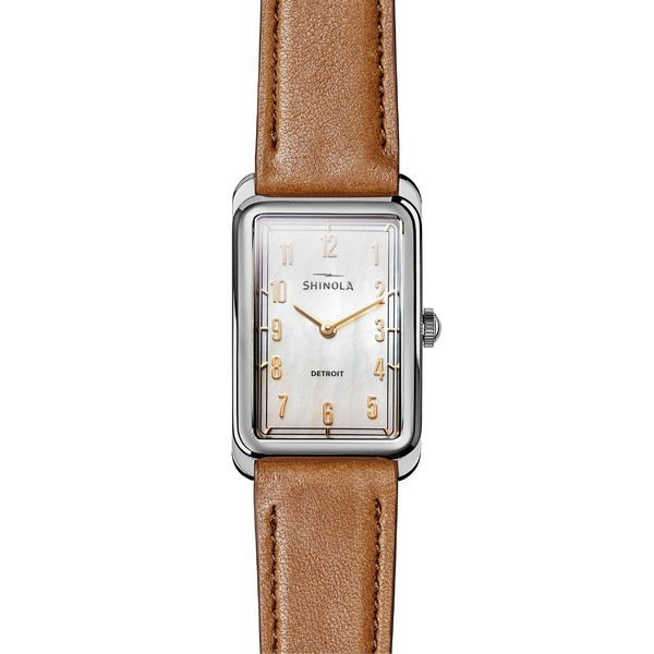 【格安SALEスタート】 シャイノーラ レディース 腕時計 アクセサリー Shinola The Muldowney Rectangular Leather Strap Watch, 24mm x 32mm Bourbon/ White Mo, Colors Pro 7aac7a76