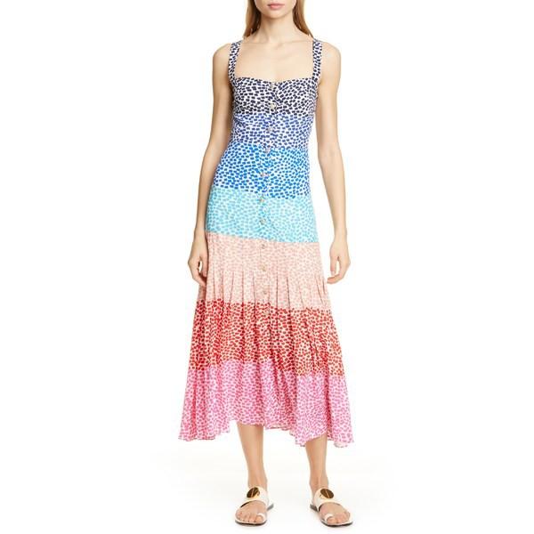 [宅送] サローニ レディース サローニ ワンピース レディース トップス トップス SALONI Karen Stripe Silk Dress Rainbow Gradient Plmt, 木らく部:8dc7a8c7 --- kulturbund-sachsen-anhalt.de